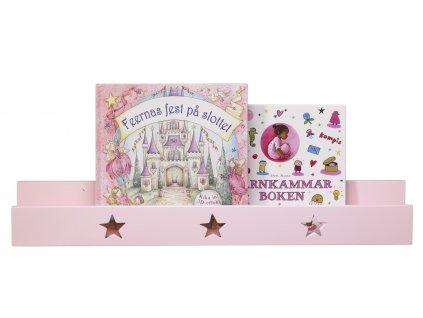 polička na knihy hvězdičky růžové