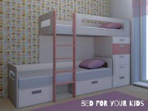 patrová postel s úložnými prostory