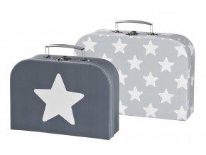 kufříky set 2ks hvězdičky šedý