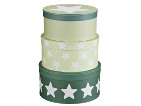 boxy kartonové set 3 ks hvězdičky zelené