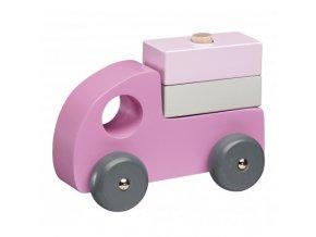 autíčka dřevěná set 3ks pink