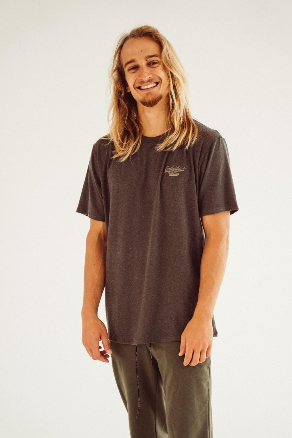 Pánské basic triko khaki