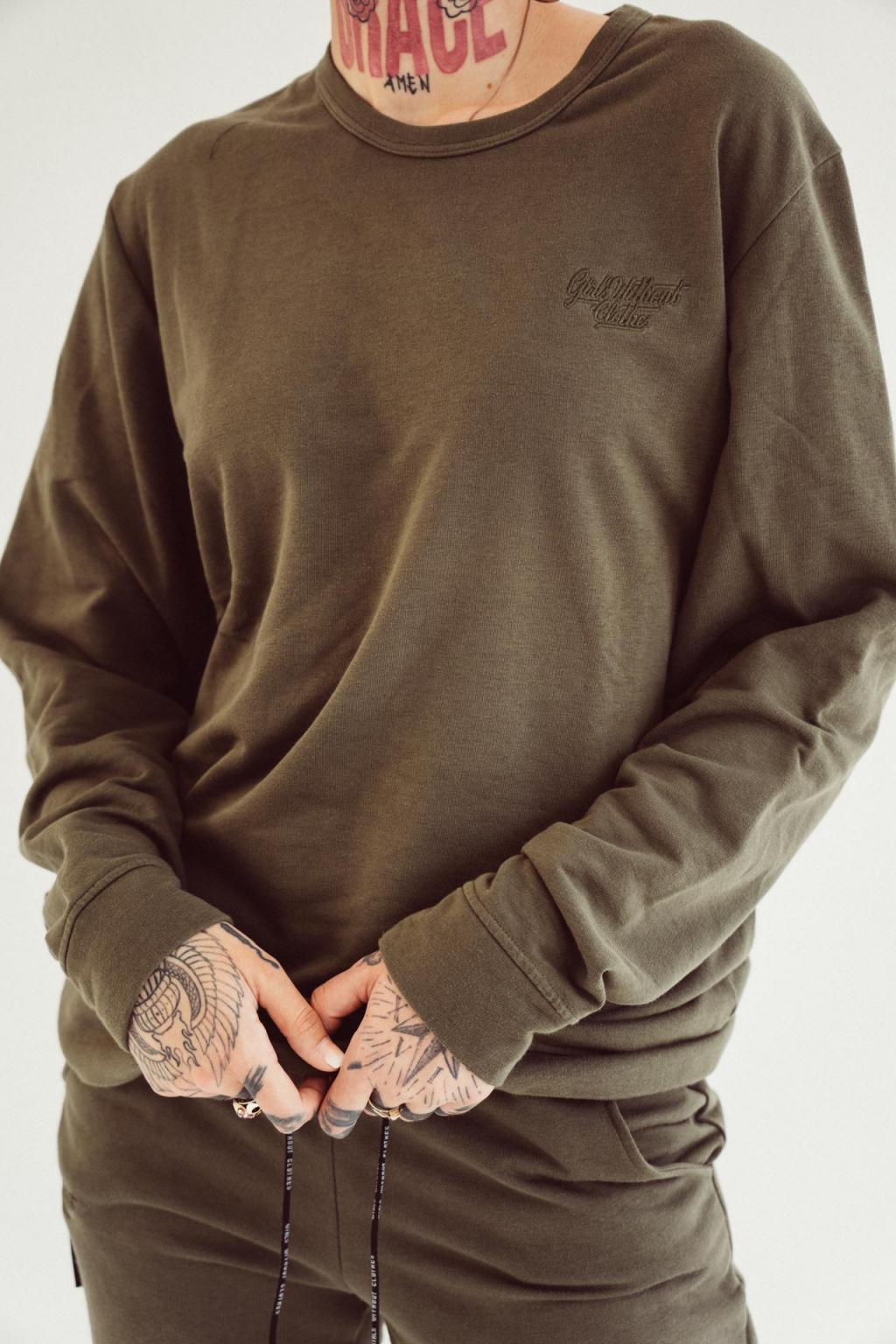 Dámský basic crewneck khaki