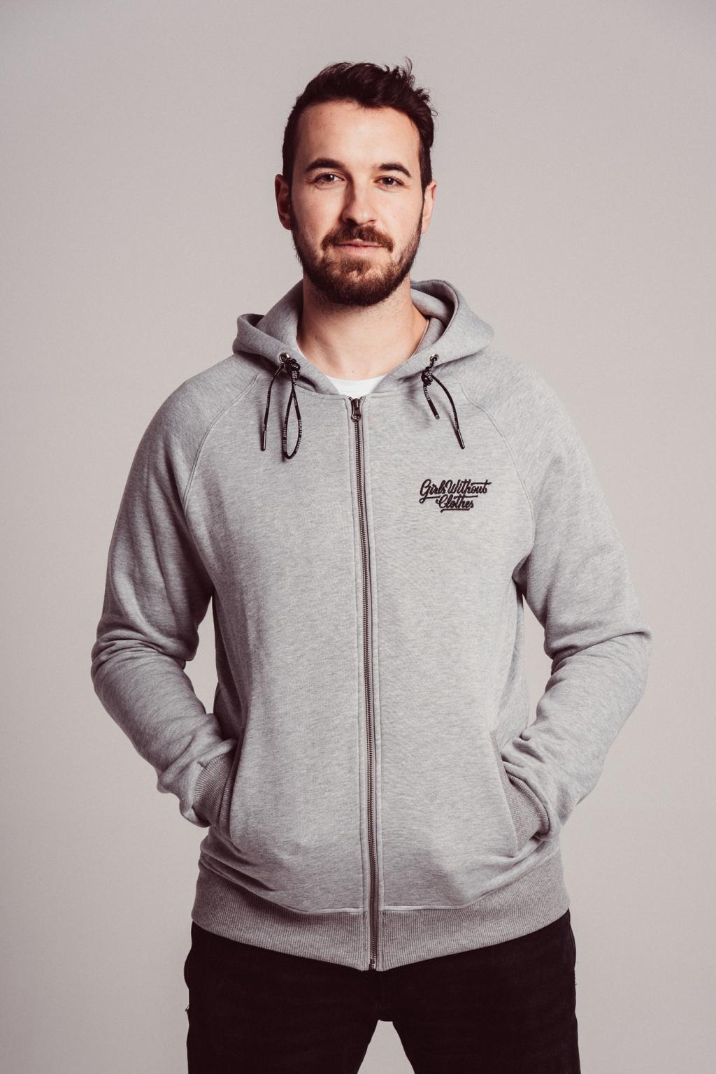 Pánská šedá hoodie Hory & Oceán, černý tisk