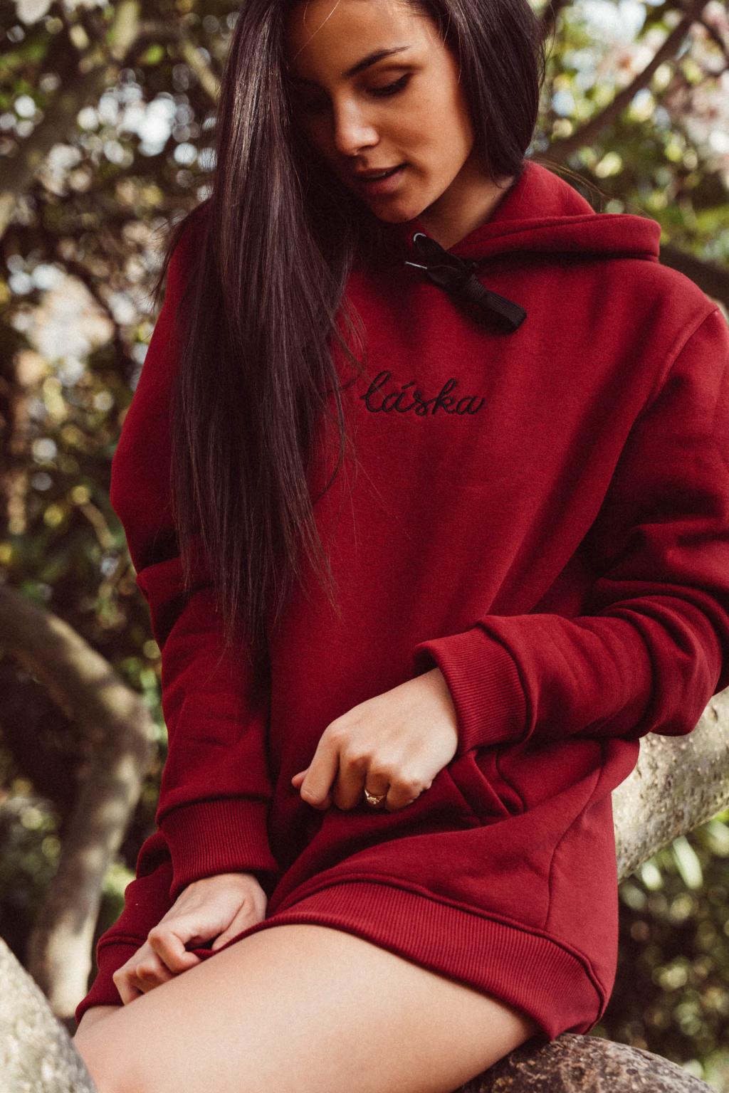 Hoodie Láska burgundy