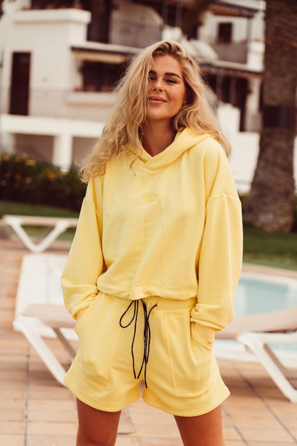 Dámská crop hoodie Over žlutá