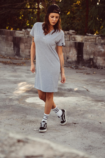 Baseball V-neck dress (šedá)