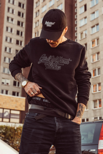 Gray on Black Crewneck