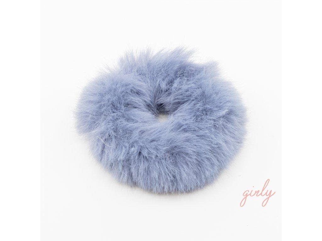 Fluffy gumička do vlasov modrá