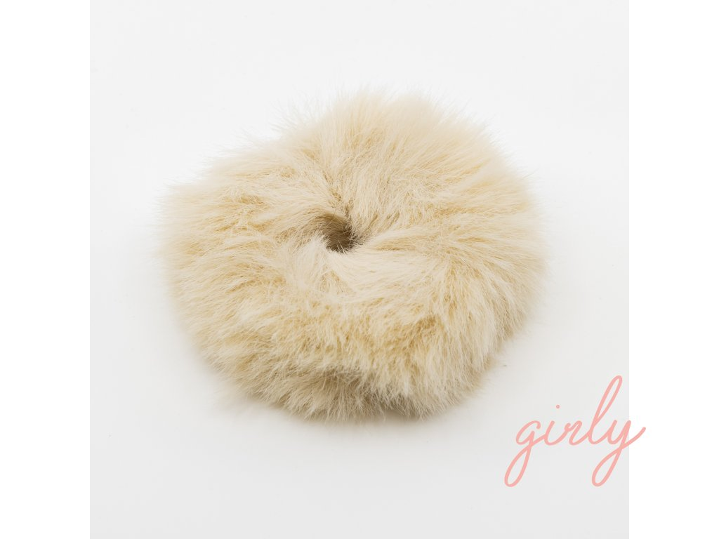 Fluffy gumička do vlasov béžová