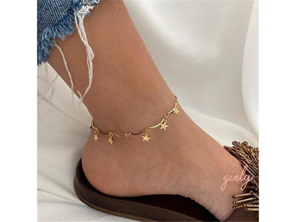 Retiazka na nohu zlaté hviezdičky