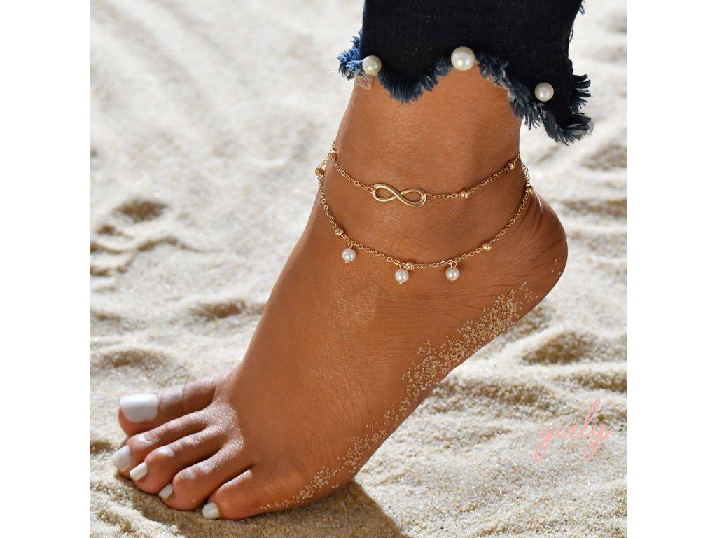Dvojitá retiazka na nohu zlatá- hviezdy s perličkami