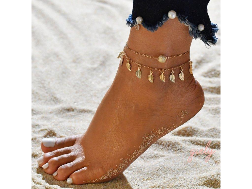 Retiazka na nohu so zlatými pierkami