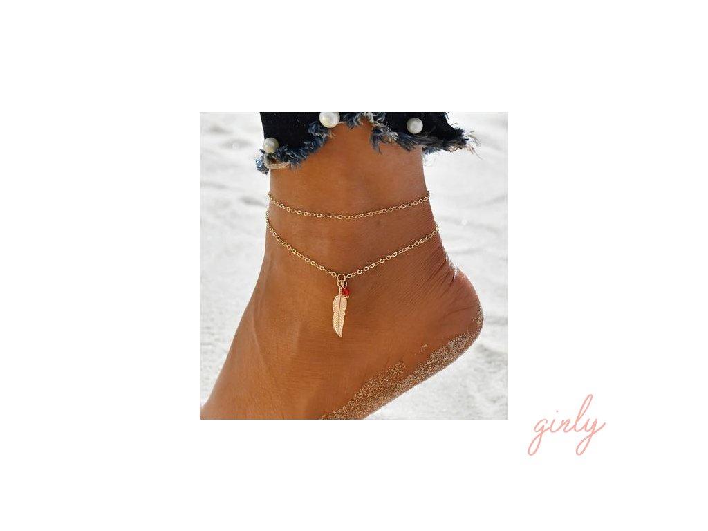 Dvojitá zlatá retiazka na nohu s pierkom