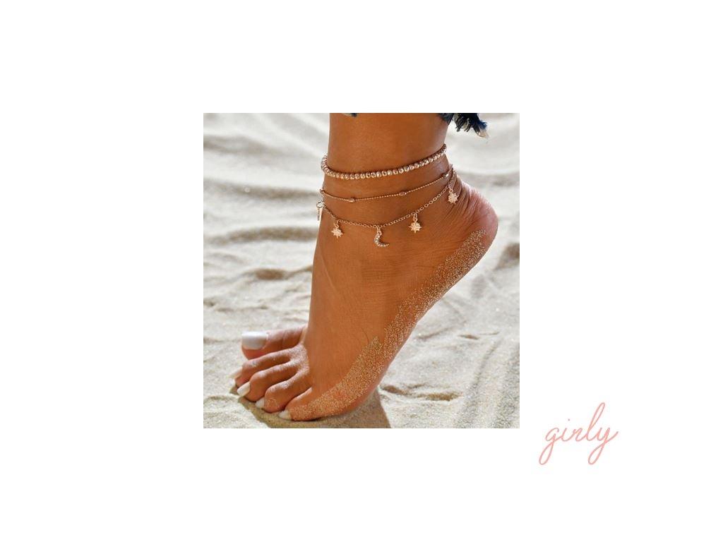 Zlatá trojitá retiazka na nohu s aplikáciami