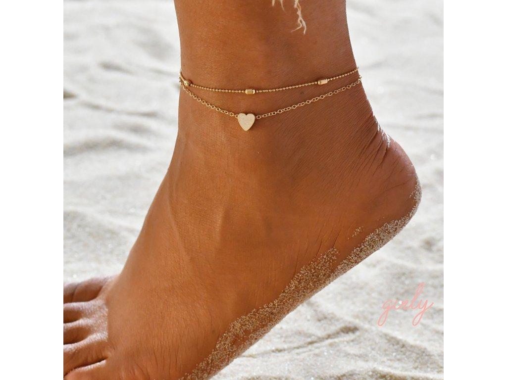 Dvojitá zlatá retiazka na nohu so srdiečkom