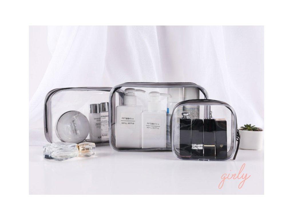 Transparentné cestovné kozmetické tašky