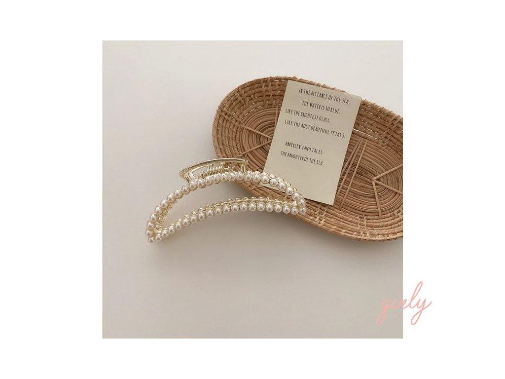 Zlatý štipec do vlasov s perličkami- dvojradový