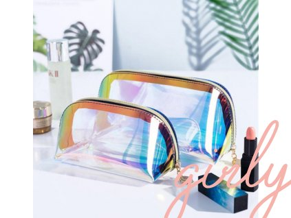 Transparentno-farebná cestovná kozmetická taška