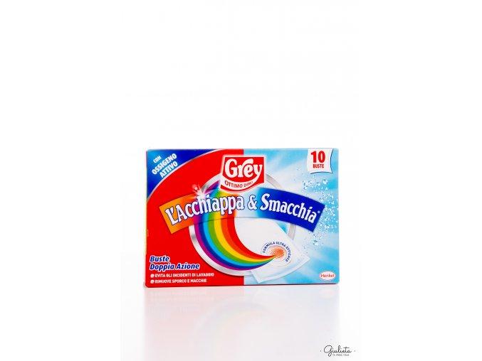 Grey L'Acchiappa & Smacchia textilní sáčky na praní barevného oblečení s odstraňovačem skvrn, 10 ks