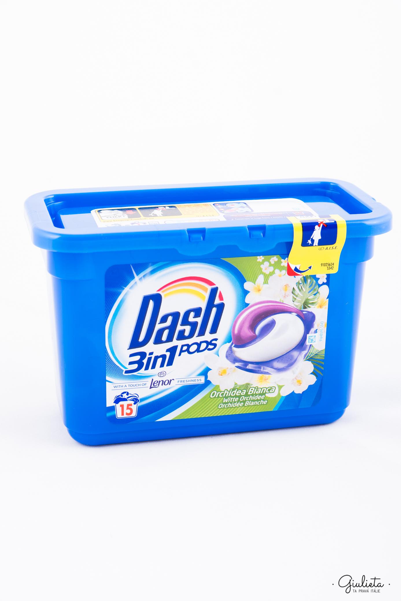 Dash gelové kapsle PODs 3in1 Orchidea Bianca, 15 ks