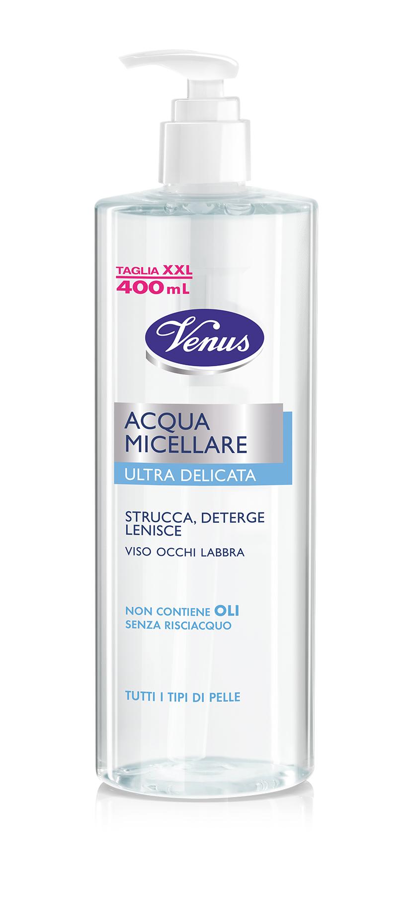 Venus Acqua Micellare jemná čisticí a odličovací micelární voda, 400 ml