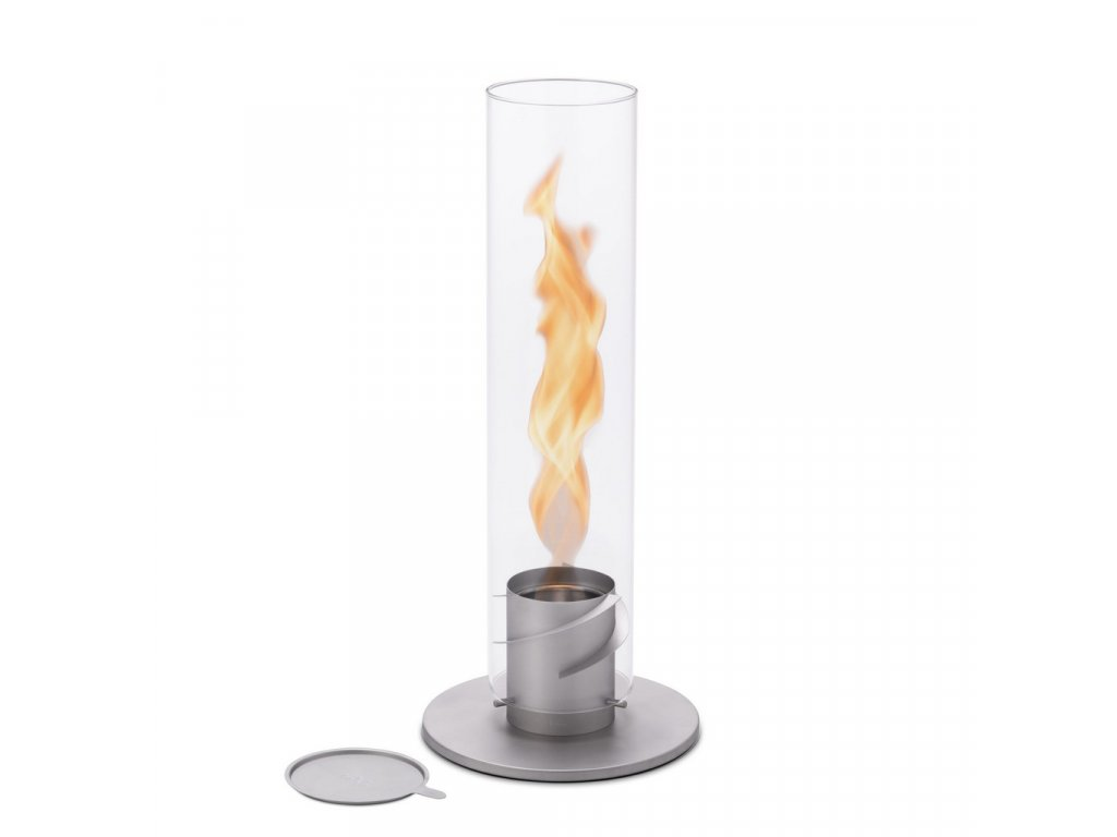 Höfats Spin 120, velký šedý - stolní biokrb se spirálovým plamenem