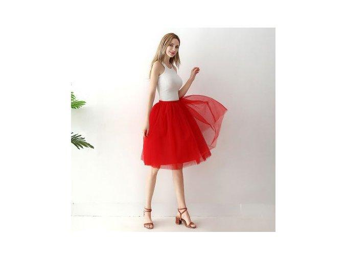 TUTU tylová sukně dámská červená 65 cm