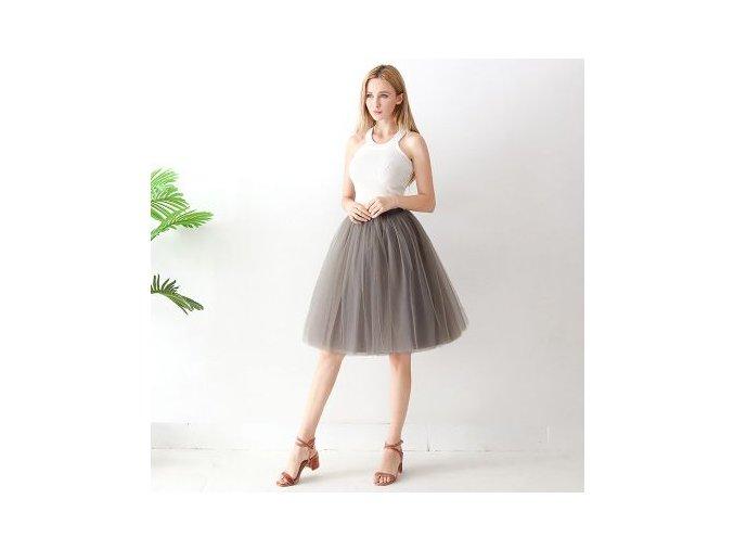 TUTU tylová sukně dámská šedá2 65 cm