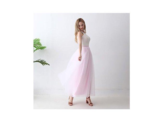 TUTU tylová sukně dámská růžová 100 cm 5vrstev