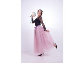 TUTU tylová sukně dámská růžová 100 cm 7vrstev