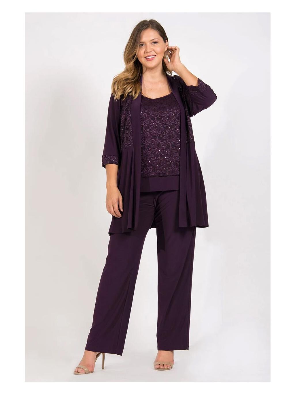 fialovy kalhotovy kostymek top kabatek kalhoty