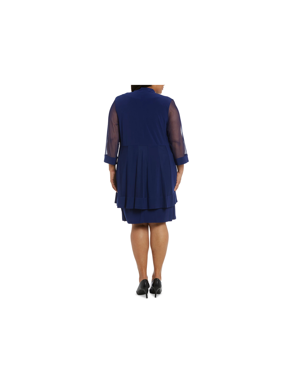 saty kralovske modre barvy s perlickami kratke elasticke tylove rukavy