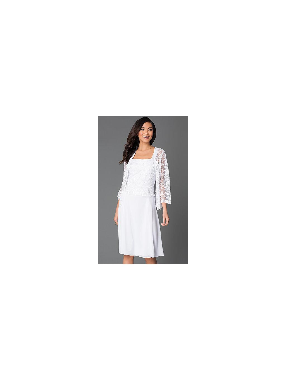 Krátké bílé společenské šaty s krajkovým kabátkem. Neohodnoceno. saty na  vdavani · bile saty s krajkovym kabatkem 2d08ff9de44