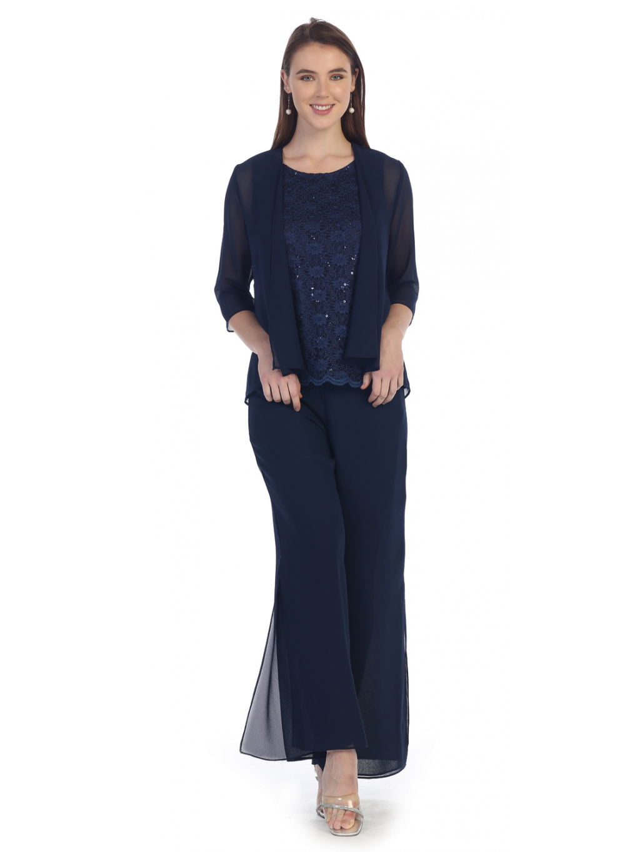 namorni modry kalhotovy kostym pro plnostihle 3XL