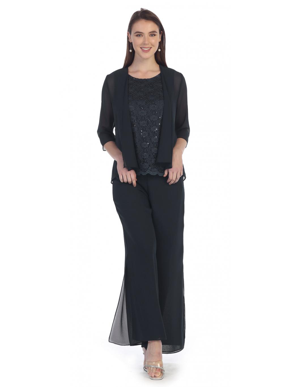 Kalhotový černý kostým pro společenskou událost
