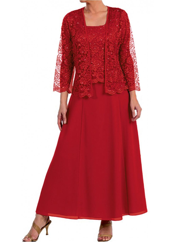Červené dlouhé společenské šaty s krajkovým kabátkem