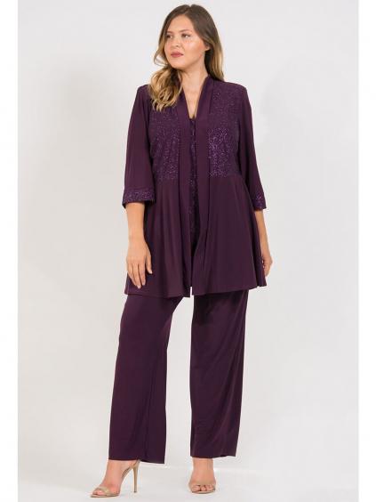 fialovy damsky kalhotovy kostym