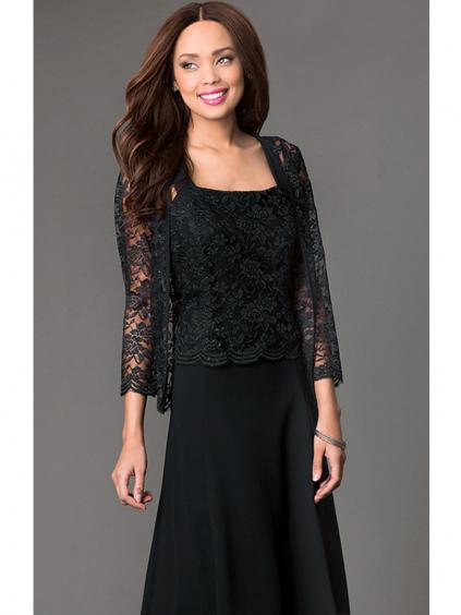 Krátké černé společenské šaty s krajkovým kabátkem