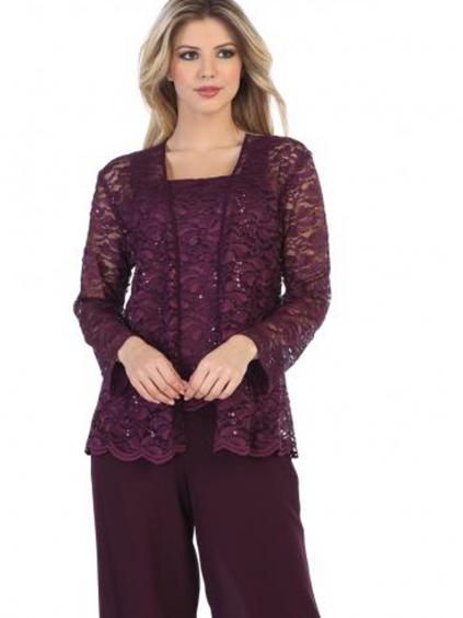 kalhotove kostymy fialove mode sede