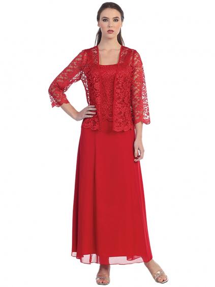 dlouhe cervene saty na ples pro matku nevesty zenicha krajkovy kabatek