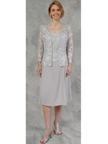 Krátké šedé společenské šaty s krajkovým kabátkem