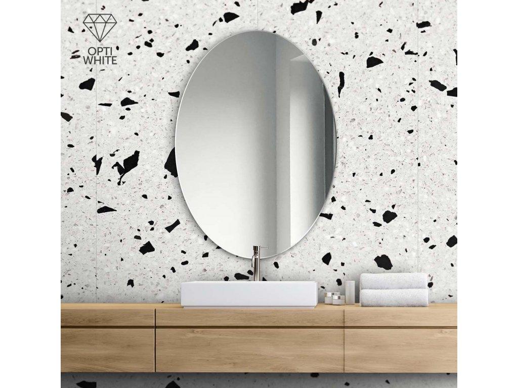 Zrkadlo Oval Opti white - Glamour Design 1