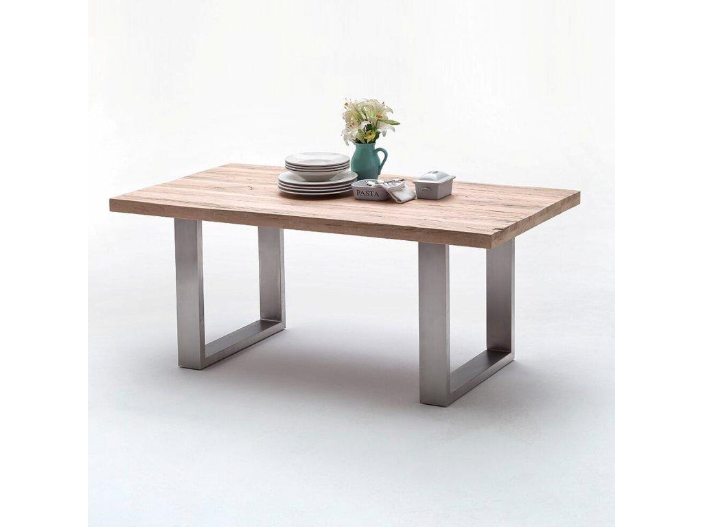 Jedálenský stôl Castello dub bielený nerez 180cm - Glamour Design 1