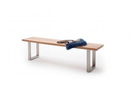 Jedálenská lavica Castello dub divoký nerez - Glamour Design 1