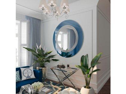 Lustro Elegance niebieskie w ramie z lustra niebieskiego, zdobione droba szklana mozaika GieraDesign