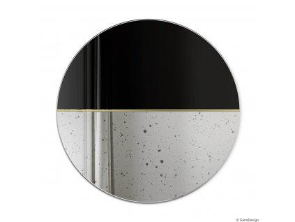 Lustro Demi vintage czarne, okragle z mosiezna wstawka. GieraDesign