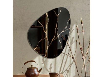Lustro dekoracyjne Fly Kintsugi, czarno zlote. GieraDesign