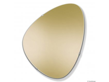 Zlote lustro w stylu mid century modern, obly nieregularny ksztalt, mocowane na trzech metalowych uchwytach Fly zlote GieraDesign