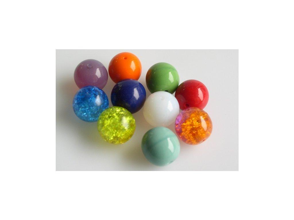 Mačkané kulaté korálky - 12 mm mix - barev